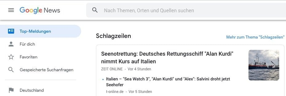 Herr Antrim's Recommended Resources: Google News in German