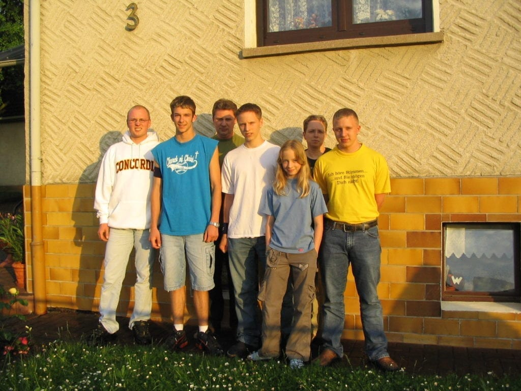 Herr Antrim and his host family in Germany