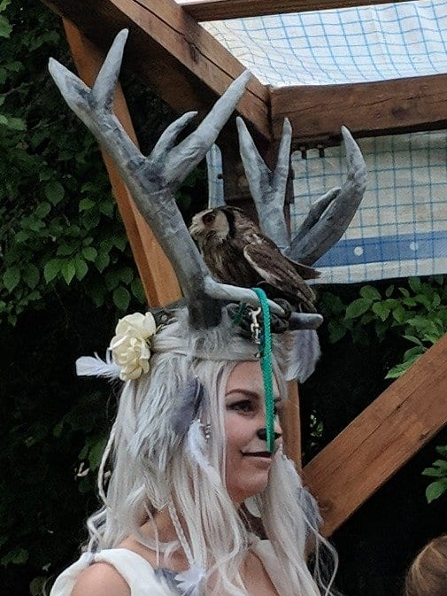 Lady dressed as a deer with an owl on her head