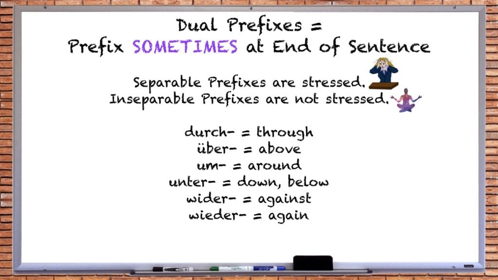 List of German Dual Prefix Verbs